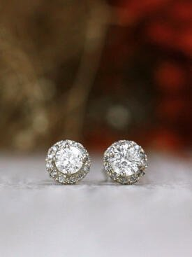 Petite Diamond Solid 14 Karat Gold Stud Earring with Halo