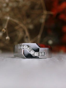 Geometric Modern Men's Solid 14 Karat Gold Diamond Wedding Band
