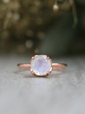 Moonstone Lotus Flower Solitaire Solid 14 Karat Gold Engagement Ring