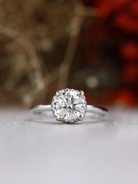 1CT Round Diamond Under Halo Solid 14 Karat Gold Engagement Ring