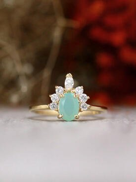 7X5MM Peruvian Opal Marquise Crown Solid 14 Karat Gold Engagement Ring
