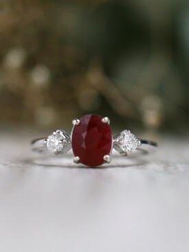 1.6CT Natural Ruby Three Stone Solid 14 Karat Gold Engagement Ring