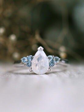 Moonstone and Aquamarine Cluster Engagement Solid 14 Karat Ring