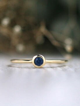 0.15CT Natural Blue Sapphire Solid 14 Karat Stackable Ring