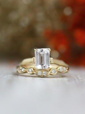 SET: 7x5MM White Topaz Solitarie Solid 14 Karat Gold Ring + Diamond Bezel V Solid 14 Karat Gold Band