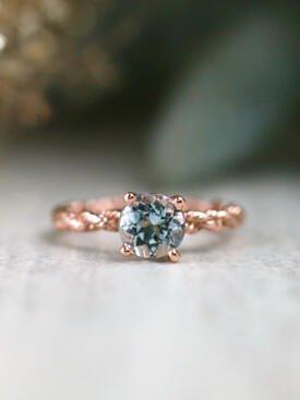 Blue-Grey Natural Aquamarine Bohemian Line Solitarie Solid 14 Karat Gold Engagement Ring