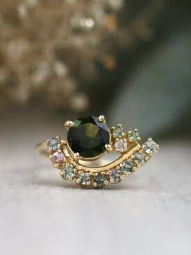 Paisley Hunter Green Tourmaline Solid 14 Karat Gold Cluster Ring