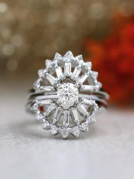 0.5CT Round Classic Solitaire Four Prong Ring+2 Baguette and Round Diamond Cocktail Ring Guard