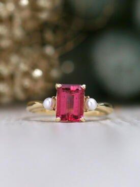 Emerald Cut Rubellite Tourmaline and Pearl Solid 14 Karat Gold Ring