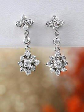 Diamond Cluster Boho Chic Chandelier Solid 14 Karat Gold Wedding Earrings