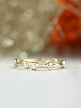 Natural Diamond Bezel Solid 14 Karat Gold Stackable Eternity Band