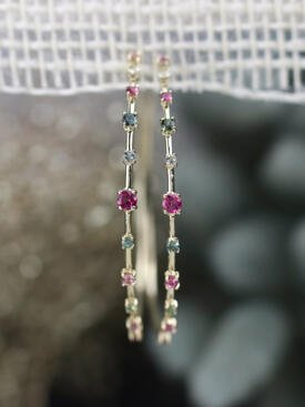 Rainbow Tourmaline Spiral Solid 14 Karat Gold Hoop Earrings