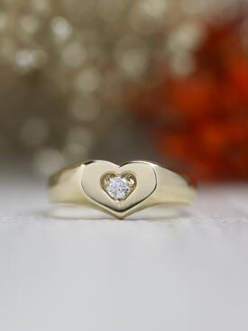 Diamond Heart Solid 14 Karat Gold Signet Ring