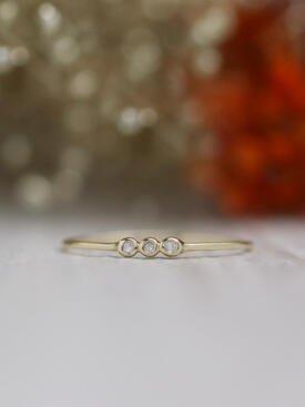 Petite Three Stone Pebble Solid 14 Karat Gold Diamond Ring