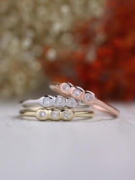 SET: Trio Diamond Bezel Solid 14 Karat Gold Stackable Ring