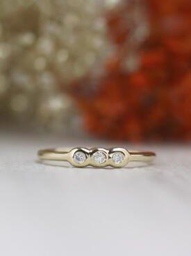 Trio Diamond Bezel Solid 14 Karat Gold Stackable Ring