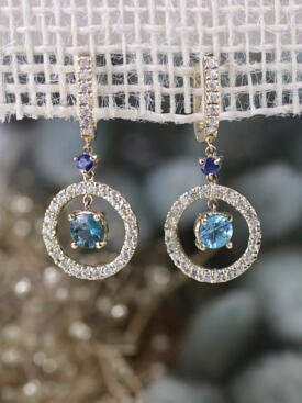Blue Zircon and Sapphire Dangle Solid 14K Gold Earrings
