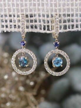 Blue Zircon and Sapphire Dangle Solid 14K Gold Earrings