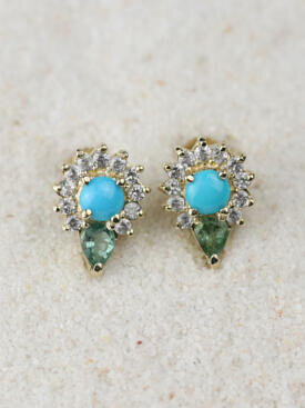 Turquoise and Tourmaline Solid 14 Karat Droplet Earrings