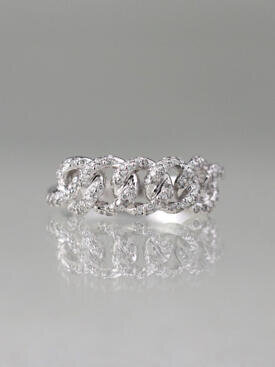 7MM Diamond Cuban Solid 14 Karat Gold Link Ring