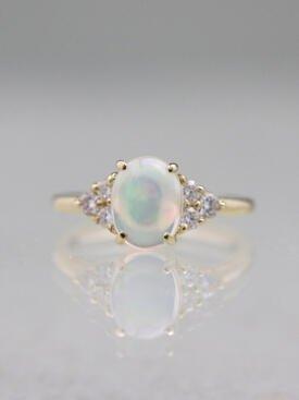 9x7MM Opal Three Stone Solid 14 Karat Gold Cluster Ring