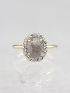 1 Carat Grey Diamond Halo Solid 14 Karat Gold Ring