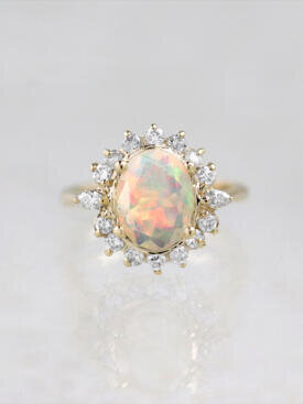 Rainbow Opal Blossom Engagement Ring