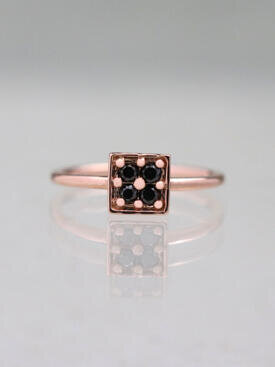 Black Diamond Geometric Ring