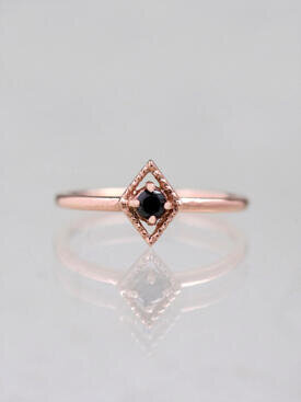 Kite Black Diamond Ring