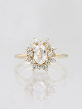 White Sapphire Celestial Diamond Halo Engagement Ring