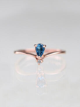5x3MM Tear Drop Blue Topaz Chevron Ring