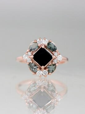 Black Diamond and Grey Tourmaline Cluster Ring