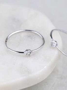 0.4CT Diamond Bezel Hoop Earrings