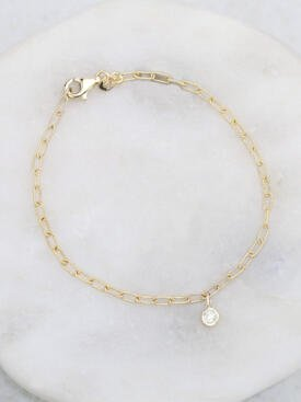 Diamond Charm Link Chain Bracelet