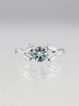 Grey-Blue Tourmaline and Diamond Engagement Ring