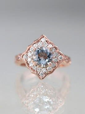 1.2CT Aquamarine Kite Halo Engagement Ring