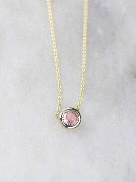 Baby Pink Tourmaline Bezel Necklace