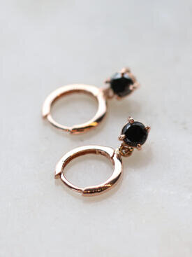 Black Diamond Huggie Drop Earrings
