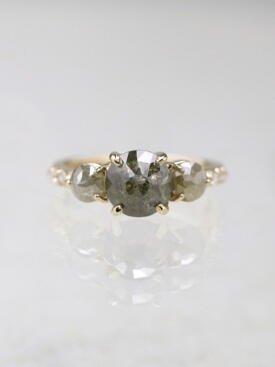 2.7ct Grey Diamond Three Stone Solid 14 Karat Gold Engagement Ring