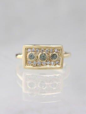 Olive Green Sapphire Bezel Solid 14 Karat Gold Cluster Ring