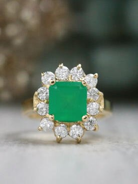 2.5CT Natural Emerald with 1.23CT Diamond Halo Solid 14 Karat Gold Cocktail Ring