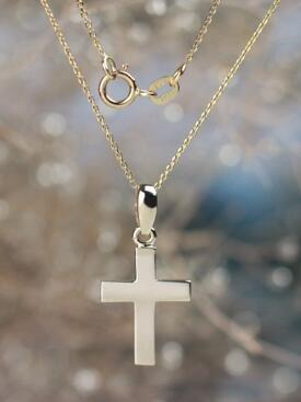 Simple Solid 14 Karat Gold Cross Pendant Necklace