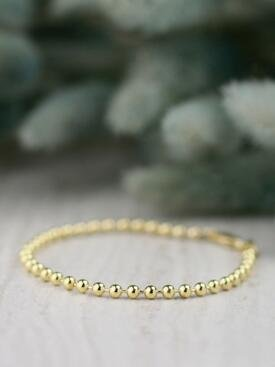 3MM Ball Solid 14 Karat Gold Chain Bracelet