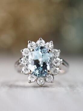 10x8MM Oval Aquamarine Solid 14 Karat Gold Classic Diamond Halo Ring