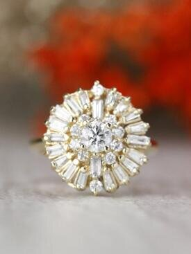 1.20CT Cluster Round and Baguette Diamond Solid 14 Karat Gold Cocktail Engagement Ring