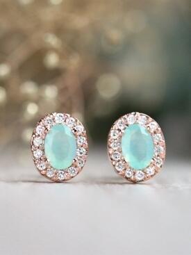 Peruvian Opal with Diamond Halo Solid 14 Karat Gold Earrings