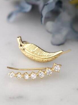 Celestial Diamond and Wing Solid 14 Karat Gold Earring Climbers