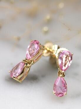 Natural Pink Sapphire Teardrop Solid 14 Karat Gold Chandelier Earrings