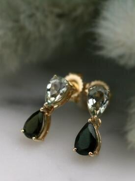 Blue-Green Tourmaline Teardrop Solid 14 Karat Gold Chandelier Earrings