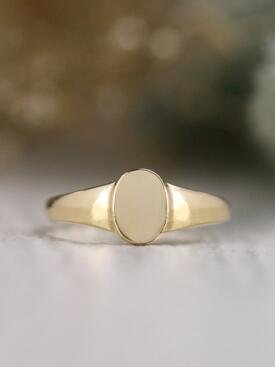 Baby Vertical Oval Solid 14 Karat Gold Signet Ring